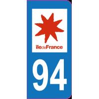 Sticker immatriculation 94 - Val-de-Marne
