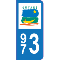 Sticker immatriculation 973 - Guyane