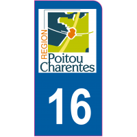 Sticker immatriculation moto 16 - Charente