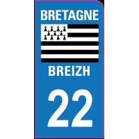Sticker immatriculation moto 22 - Côtes-d'Armor
