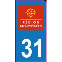 Sticker immatriculation moto 31 - Haute-Garonne