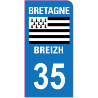 Sticker immatriculation moto 35 - Ille-et-Vilaine