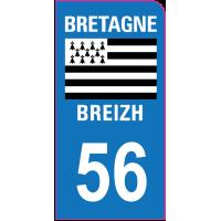Sticker immatriculation moto 56 - Morbihan