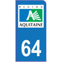 Sticker immatriculation moto 64 - Pyrénées-Atlantiques