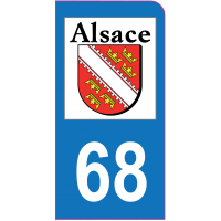 Sticker immatriculation moto 68 - Haut-Rhin
