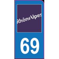Sticker immatriculation moto 69 - Rhône