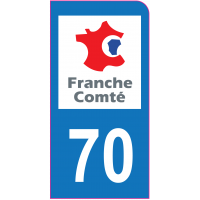 Sticker immatriculation moto 70 - Haute-Saône