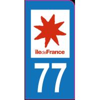 Sticker immatriculation moto 77 - Seine-et-Marne