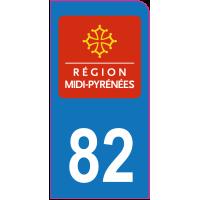 Sticker immatriculation moto 82 - Tarn-et-Garonne