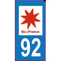 Sticker immatriculation moto 92 - Hauts-de-Seine