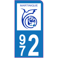 Sticker immatriculation moto 972 - Martinique