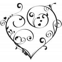 Sticker mural coeur