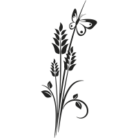 Sticker mural plante papillon