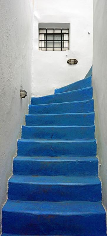Sticker porte escalier en trompe oeil 5 stickers déco porte