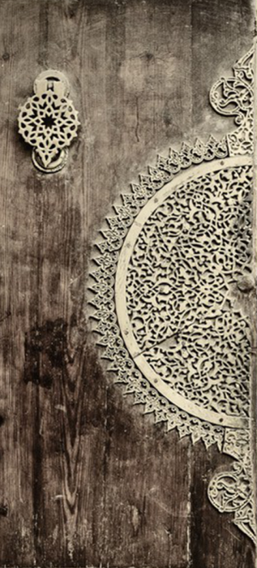 Sticker porte orientale en bois 2 stickers déco porte