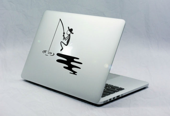 Sticker Macbook Bonhomme Pèche sur Pomme