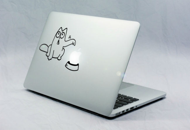 Sticker Macbook Chat Réclame Pomme