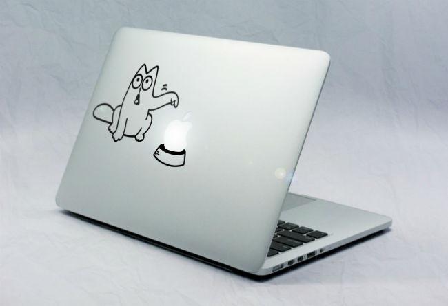 Sticker Macbook Chat Réclame Pomme