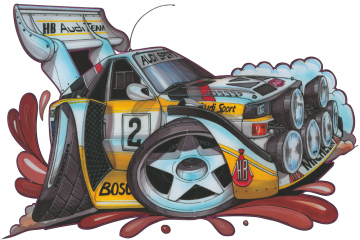 Audi Quattro_Rally - Stickers Caricatures Tuning