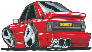Audi Quattro - Stickers Caricatures Tuning
